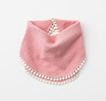 Organic Muslin Bib with Pompom trim in Shell Pink