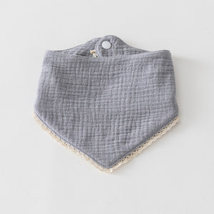 Organic Muslin Bib with Lace Trim Cloudy
