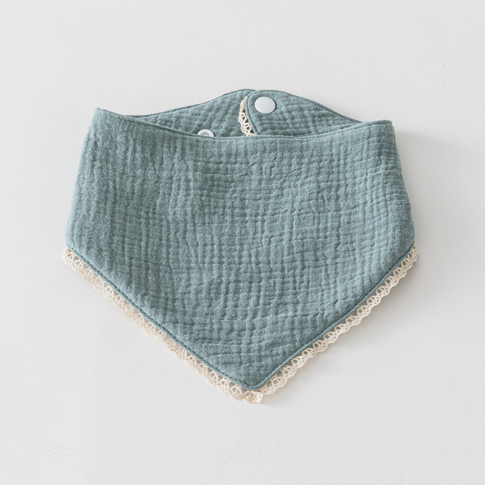 Organic Muslin Bib with Lace Trim Sage