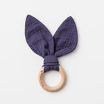 Bunny Ears Baby Teether in Navy Blue made from organic cotton muslin and natural beechwood. Relieve the pain of your babies teething naturally.