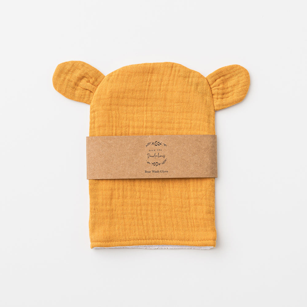 Bear wash glove in saffron.