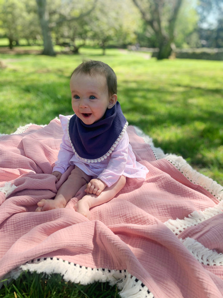 Organic Muslin Bib with Pompom trim in Midnight