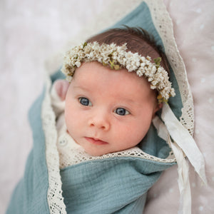Organic Muslin Blanket with Lace Trim Sage