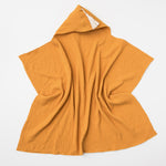 Organic muslin hooded baby towel in saffron