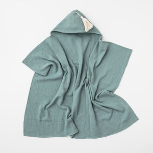 Organic muslin hooded baby towel in sage