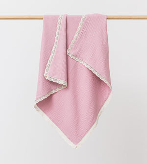Organic Muslin Blanket with Lace Trim Peony