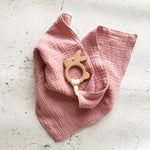 Lovey with Wooden Bunny Teether Peony