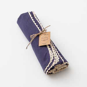 Organic cotton muslin swaddle with lace