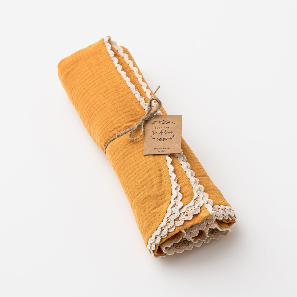 Organic Muslin Swaddle with Lace in Saffron