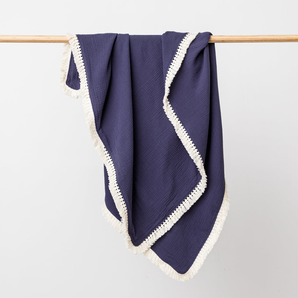 Organic Muslin Blanket with Boho Tassel Fringe Midnight - PREORDER FOR DELIVERY 4th DEC
