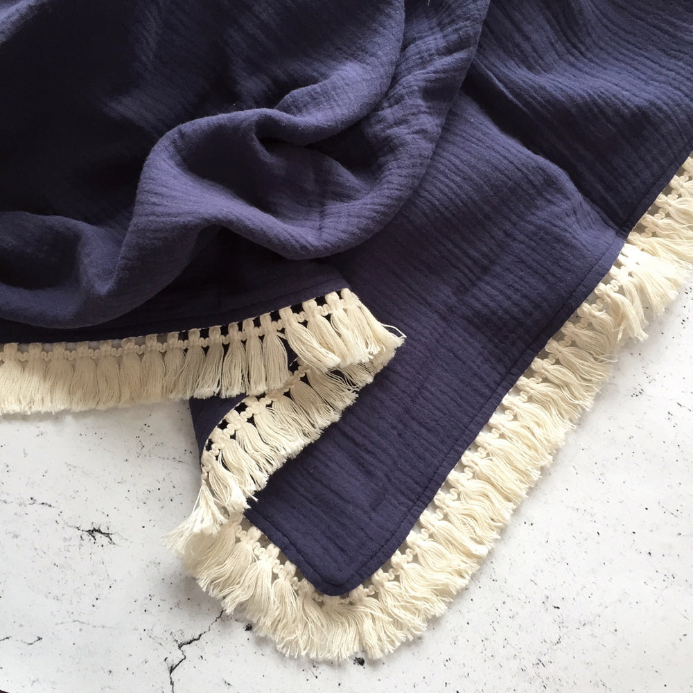Organic Muslin Blanket with Boho Tassel Fringe Midnight