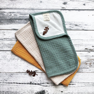 Set of 3 Organic Muslin Washcloths Sunflower