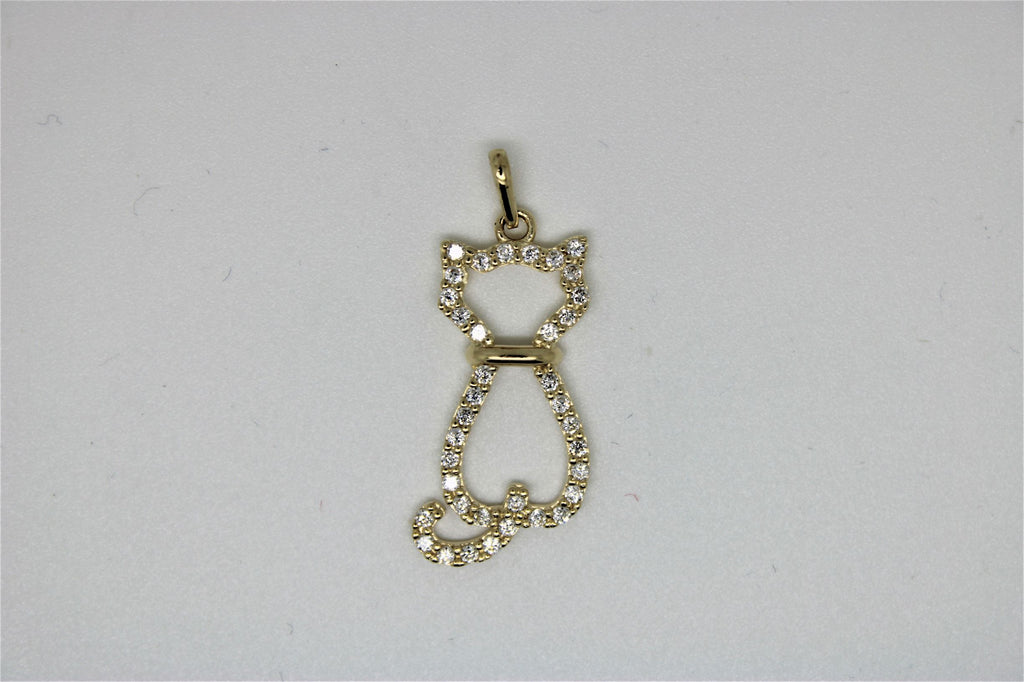 Pendentif en or chat en pierres