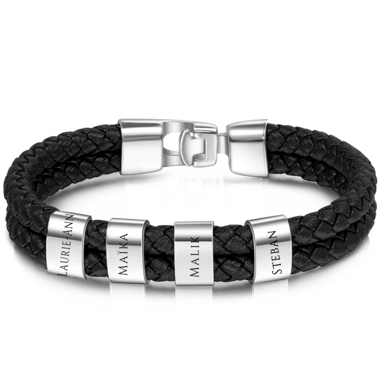 Silver square leather bracelet-4