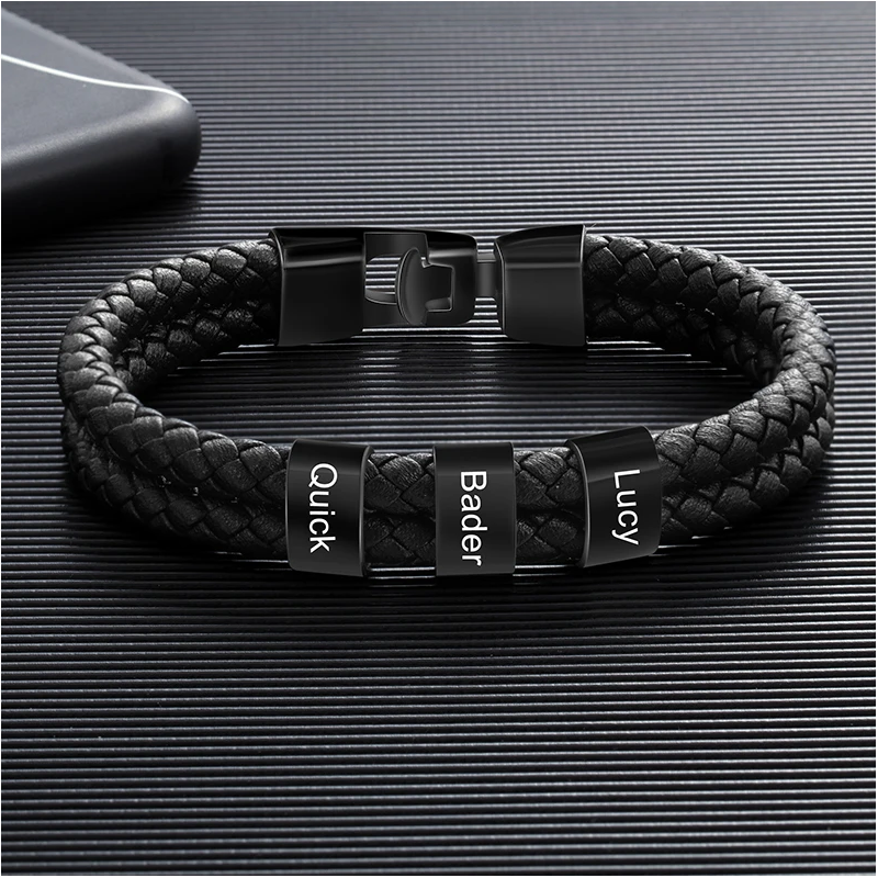 Black square leather bracelet-3
