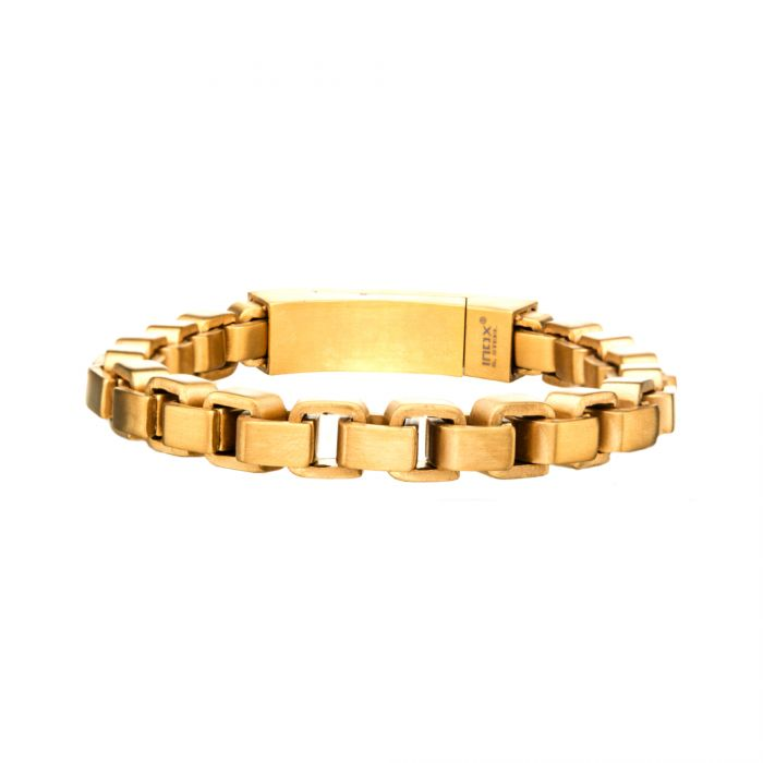 Stainless Steel and Gold Plated Bold Box Bracelet