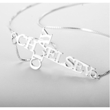 Double name cross necklace