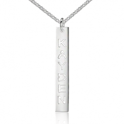 Vertical cut name necklace