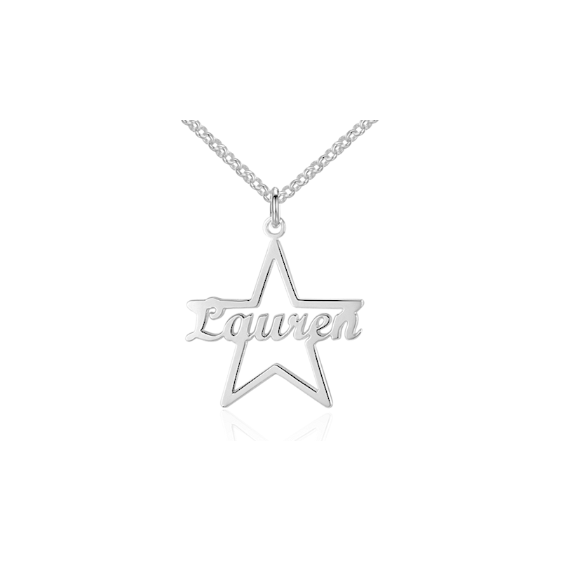 Cursive style star name necklace