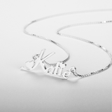 Name necklace decorated with hearts