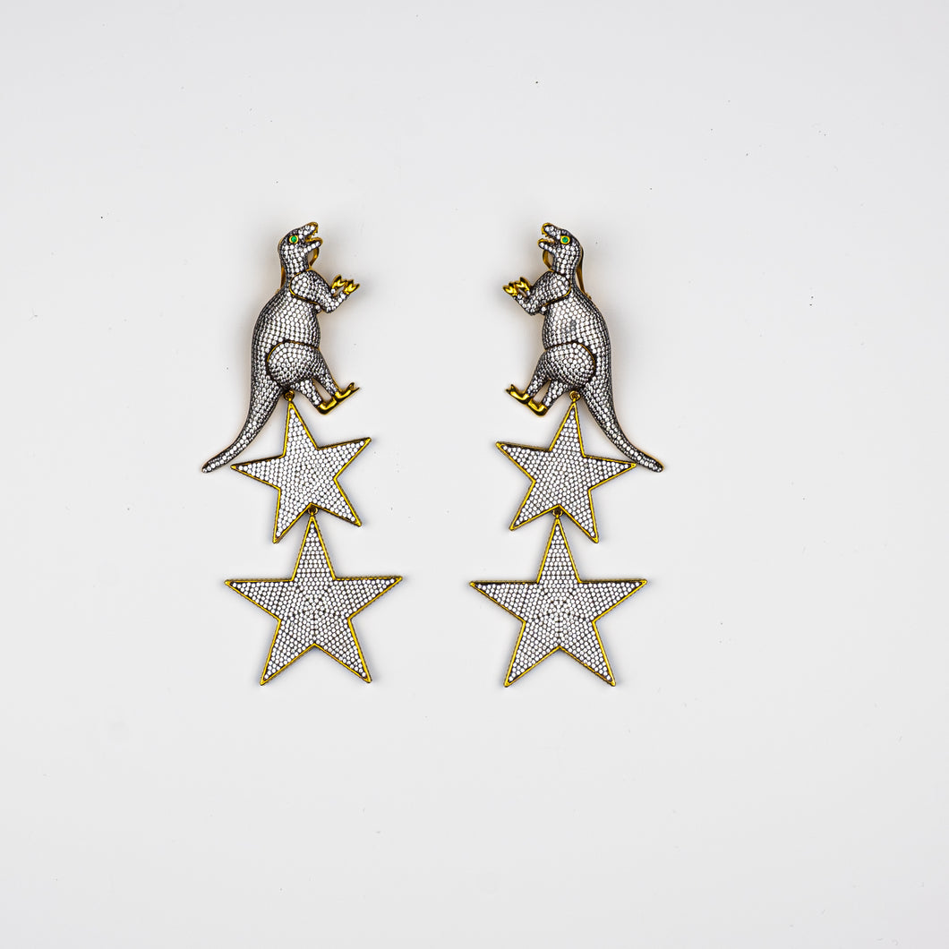 BEGUM KHAN | Dino Superstellar Earrings Crystal Gold Plated