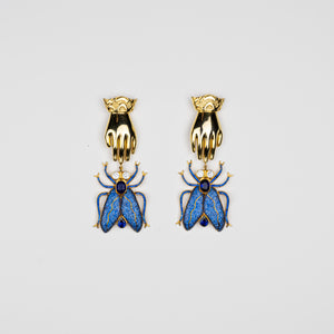 BEGUM KHAN | Fly Away Dali Earrings Navy Gold Plated