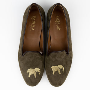 FABULA & TALES x '74ESCAPE | Suede Royal Slippers | Military Green
