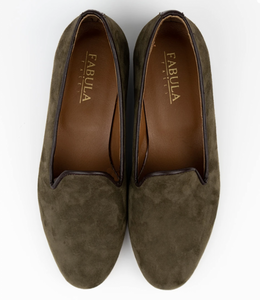 FABULA & TALES x '74ESCAPE | Suede Personalized Slippers | Military Green