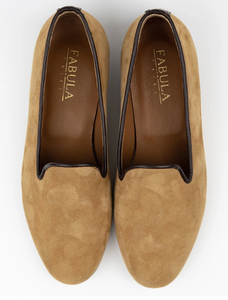 FABULA & TALES x '74ESCAPE | Suede Personalized Slippers | Tobacco