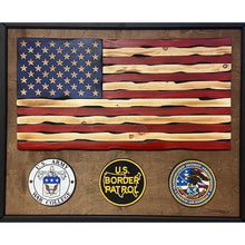 Load image into Gallery viewer, Wooden American Flag with custom logo
