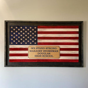 Wooden American Flag with custom logo