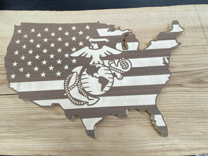 Wooden Walnut USA / Flag with logo.