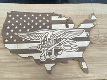 Load image into Gallery viewer, Wooden Walnut USA / Flag with logo.