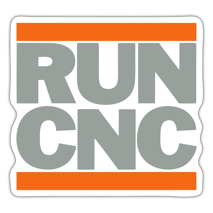 Run CNC Sticker (orange/gray) - white matte