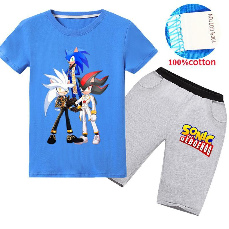 Sonic The Hedgehog Tops And Pants Kids Daily Wear Cool Summer Suit Prosgifts