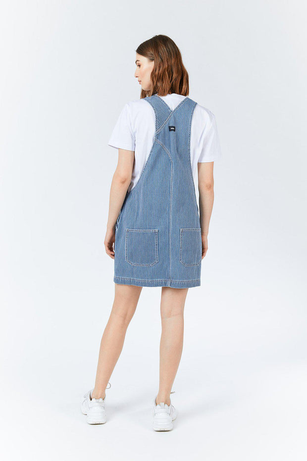 Michigan Pinafore Dress - Shift workers washed stripe