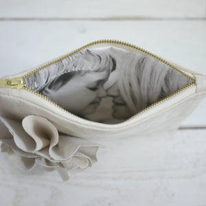 Suede flower photo purse