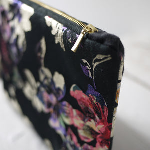 Colorful floral photo purse in ivory and black