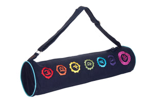 Kanyoga Hemp Cotton 7 Colorful Chakra Embroidered Yoga Mat Bag -69 L x 18 W CM