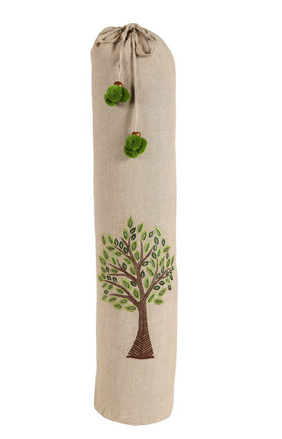 Kanyoga Cotton Tree Of Life Embroidered Yoga Mat Bag - 74 L x 25 W CM - Dark Green