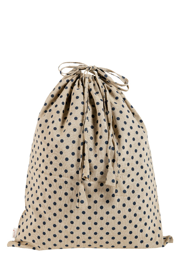 Kanyoga Cotton Polka Dot Printed Travel Laundry Bag