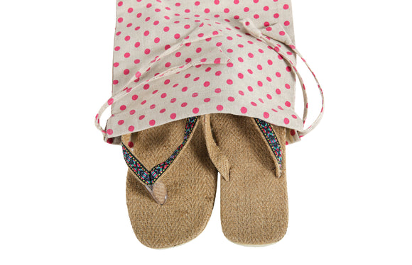Kanyoga Cotton Polka Dot Printed Travel Shoe Bag
