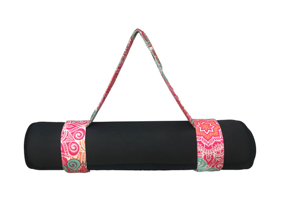 Kanyoga Yoga Mat Sling Poly Cotton Mandala Print For Holding Yoga Mat