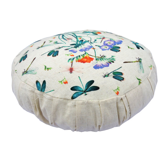KANYOGA Dragonfly Printed Filled with Buckwheat Hull Zafu Meditation Cushion - 38 D x 13 H cm