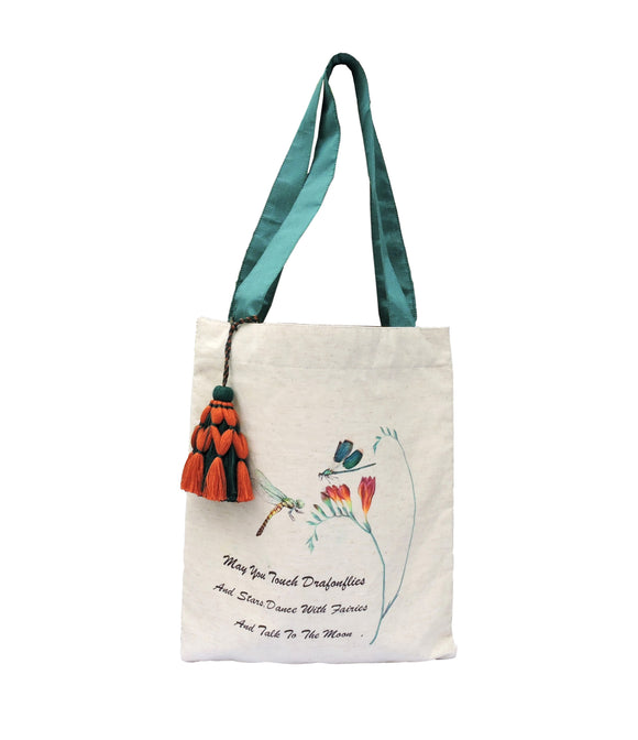 KANYOGA Dragonfly Printed Tote Bag - 40.5 L x 34 W cm