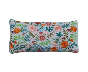 Kanyoga  Filled With Flax Seed Floral Design Embroidery Relaxing Eye Pillow- (23 L x 11 W cm)