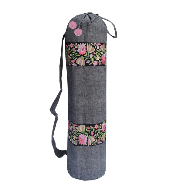 Kanyoga Multicolor Embroidery Border Yoga Mat Bag