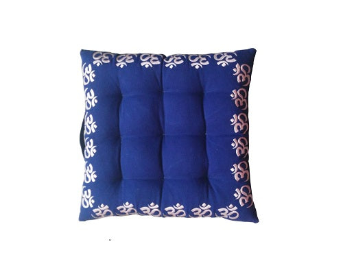 Kanyoga Square Om Embroidered Blue Exercise Yoga Meditation Cushion/Floor Pillow - 44 L x 44 W x 7 H CM