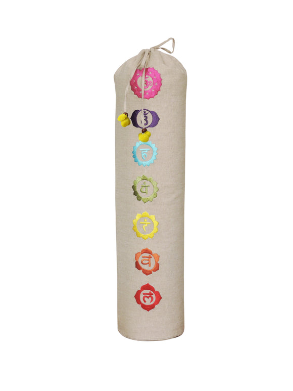 Kanyoga Cotton 7 Colorful Chakra Embroidered Yoga Mat Bag -74 L x 25 W CM
