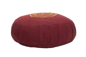 Kanyoga Buckwheat Hull Filled Om Embroidered Round Zafu Yoga Meditation Cushion- 38 D x 13 H CM